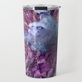 PURPLE AMETHYST WHITE QUARTZ CRYSTALS Travel Mug