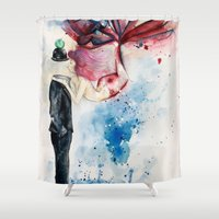 magritte Shower Curtains featuring Magritte, Apple & Mermaid by Claudia Feher