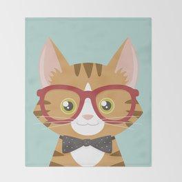 Orange Tabby Hipster Cat Throw Blanket