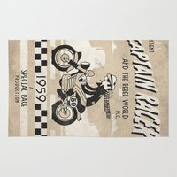 cafe racer Area & Throw Rugs featuring CAPTIAN RACER by Morselli Mattia