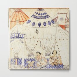 14th Century Mongol Prince Studying Koran Watercolor Painting Metal Print