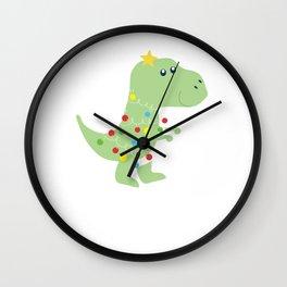 Christmas Tree T Rex Dinosaur Funny Gift Wall Clock