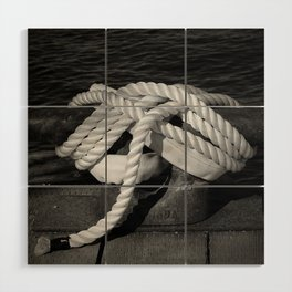 Mooring Rope tied to the dock Wood Wall Art
