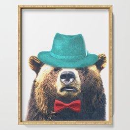Funny Bear Illustration Serving Tray