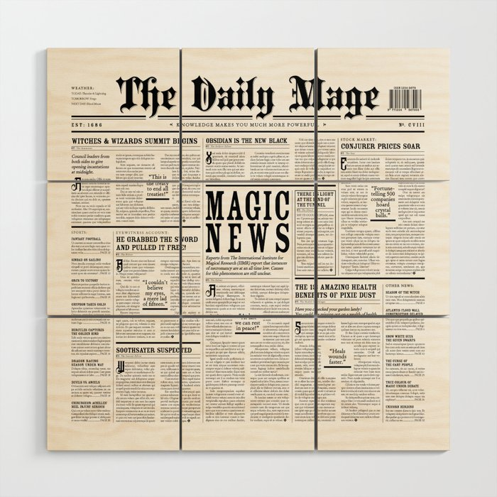 The Daily Mage Fantasy Newspaper Wood Wall Art by grandeduc | Society6