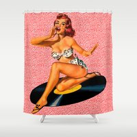 rockabilly Shower Curtains featuring Rockabilly Goddess by sasha alexandre keen
