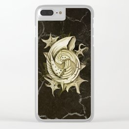 Dystopian Conch - Gold Clear iPhone Case