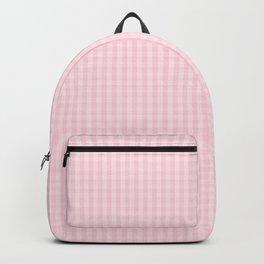 Mini Light Soft Pastel Pink Gingham Check Plaid Backpack