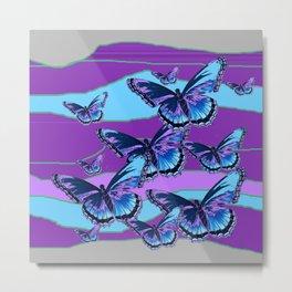 MODERN INDIGO BLUE BUTTERFLIES & PURPLE  HORIZON LANDSCAPE Metal Print