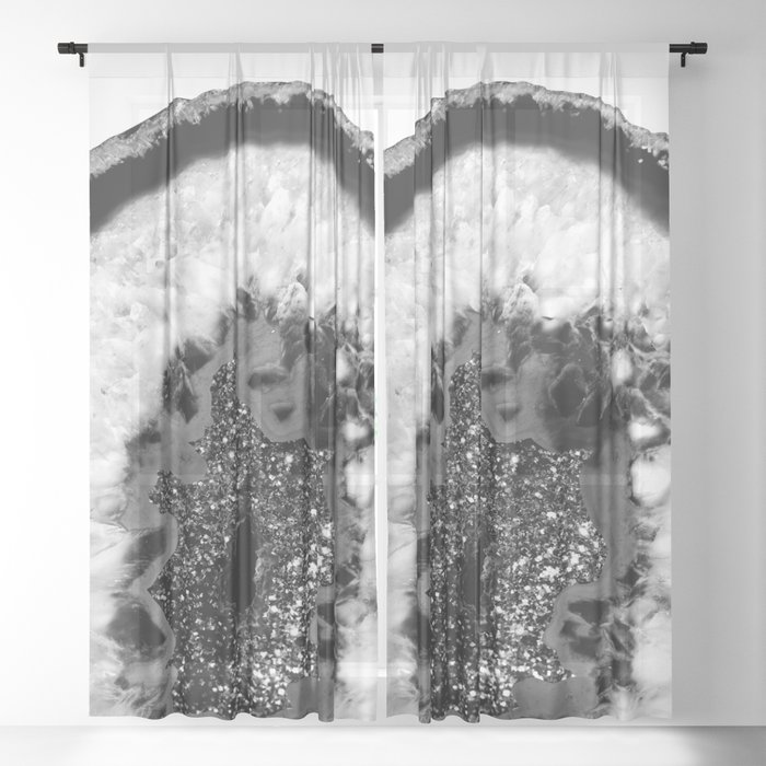 Gray Black White Agate Glitter Glamor #1 #gem #decor #art #society6 Sheer Curtain