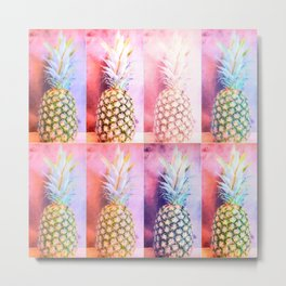 Colorful Pineapple Collage Metal Print