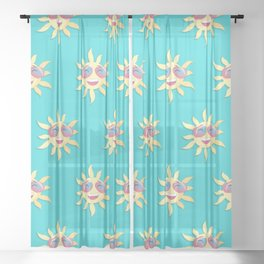 summer sun with a smiling face Sheer Curtain