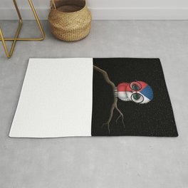 Baby Owl with Glasses and Czech Flag Rug