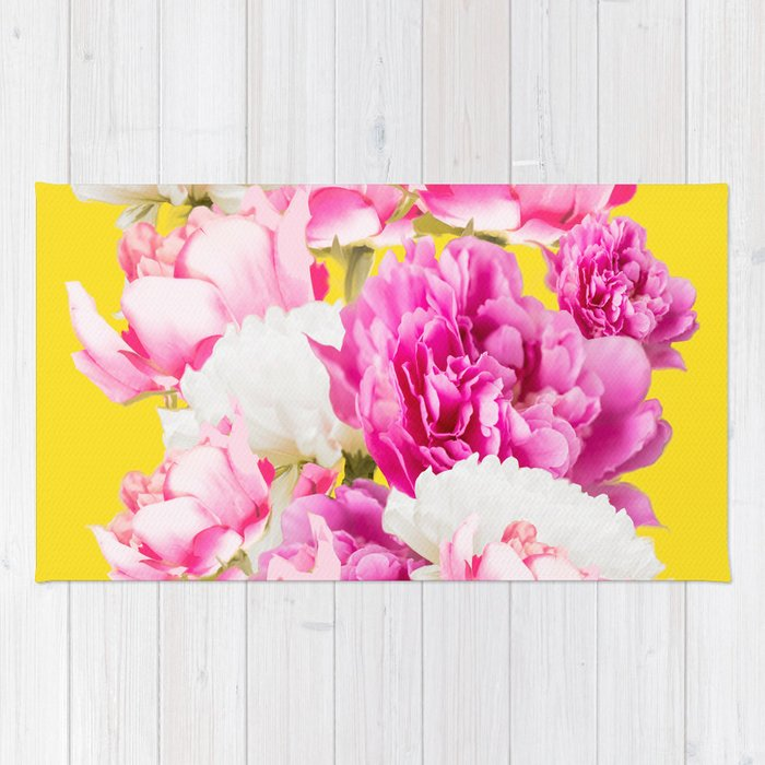 Beauties of nature large pink flowers on a yellow background rug beauties of nature large pink flowers on a yellow background rug mightylinksfo