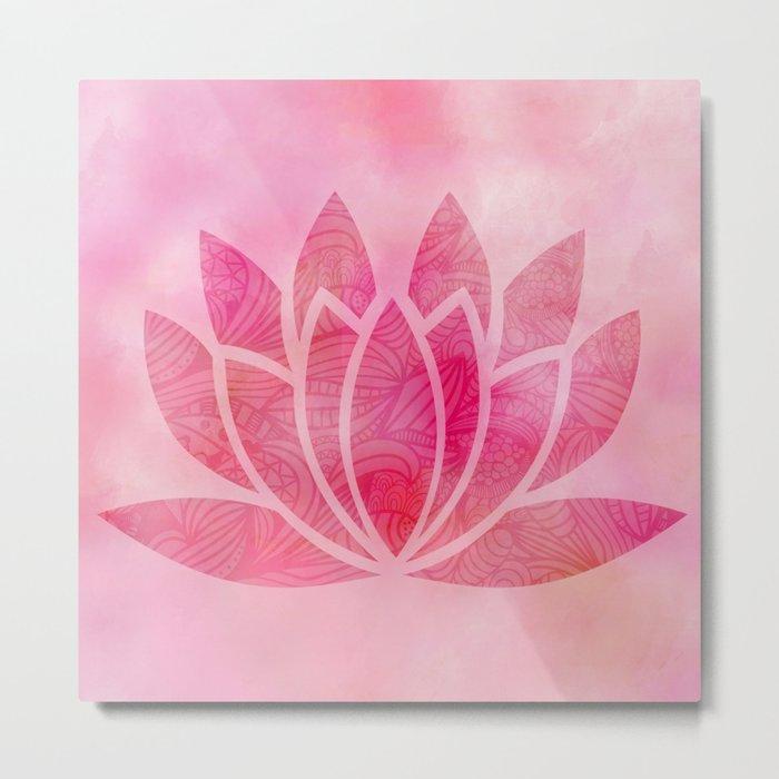 Zen Watercolor Lotus Flower Yoga Symbol Metal Print By Ruthart