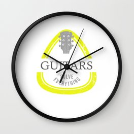 Guitars Solve Everything Accoustic Guitar Guitarist Bass Acoustic Wall Clock