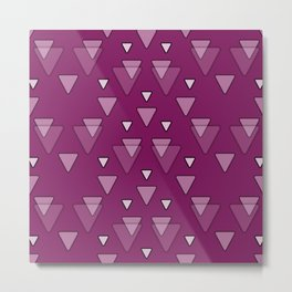 Geometric Triangles in Fuchsia Pink Metal Print