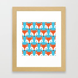 Cute Woodland Fox Pattern Design / Blue Framed Art Print