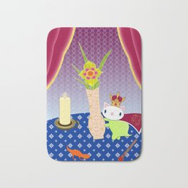 King of Wands on the Table Again Bath Mat