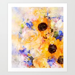 Yellow Vintage Rose Art Print