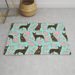 Kelpie florals dog breed cute gifts pattern dog lover pet portraits pet friendly designs Rug
