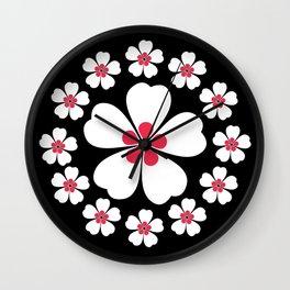 Souls of Sakura Blossom - Black Wall Clock