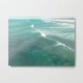 California Surf // Coastal Spring Waves Teal Blue and Green Ocean Huntington Beach Views Metal Print