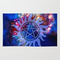pentagram Area & Throw Rugs featuring Supernatural Cosmos by Spooky Dooky
