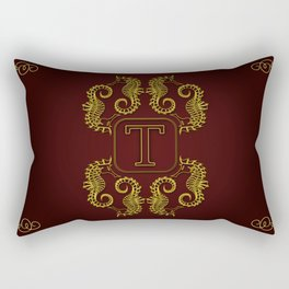 Monogram T seahorse Rectangular Pillow