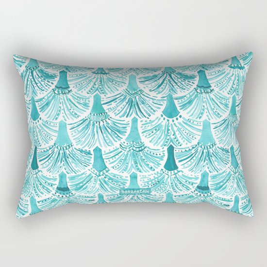MERMAID TAILS Nautical Scallop Pattern Rectangular Pillow