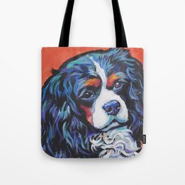 Fun Cavalier King Charles Spaniel Dog bright colorful Pop Art by LEA Tote Bag