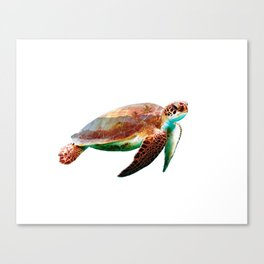 Sea Turtle Double Exposure Canvas Print