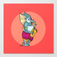 saxophone Canvas Prints featuring Ganesha Saxophone by Karthik