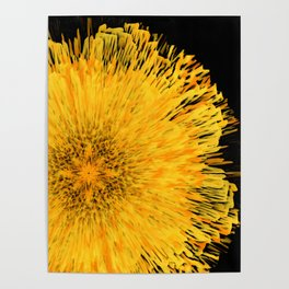 Golden floral sun of an abstract night Poster