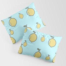 Yellow Lemon & Beautiful Blue Background Pillow Sham