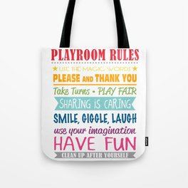 Playroom Rules Tote Bag