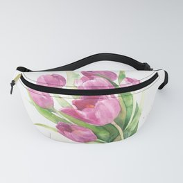 Watercolor bouquet of pink tulips Fanny Pack
