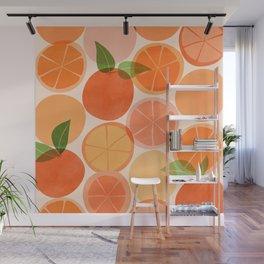Sunny Oranges / Tropical Fruit Illustration Wall Mural
