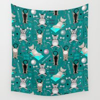 fitness Wall Tapestries featuring Fitness for cats by Vannina