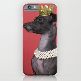 A brown Italian greyhound dog with a pearl collar and a gold crown against a red background iPhone Case