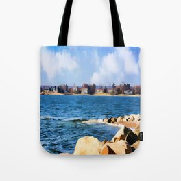 New England Shoreline - Painterly Tote Bag