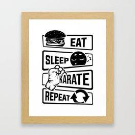 Eat Sleep Karate Repeat - Martial Arts Defence Framed Art Print