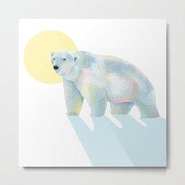 Ice bear in sunrise Metal Print