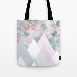 Pastel Graphic Winter Mountains on Geometry #abstractart Tote Bag