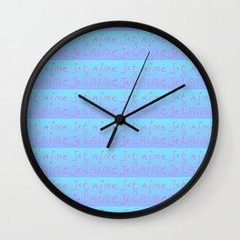 Je t'aime 12-Je t'aime,I love you,romance,romantic,love,beauty,heart,cute,girly,gentle Wall Clock