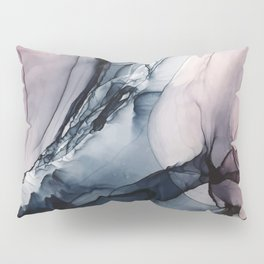 Blush, Navy and Gray Abstract Calm Clouds Pillow Sham