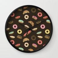 donuts Wall Clocks featuring Donuts by Julia Badeeva