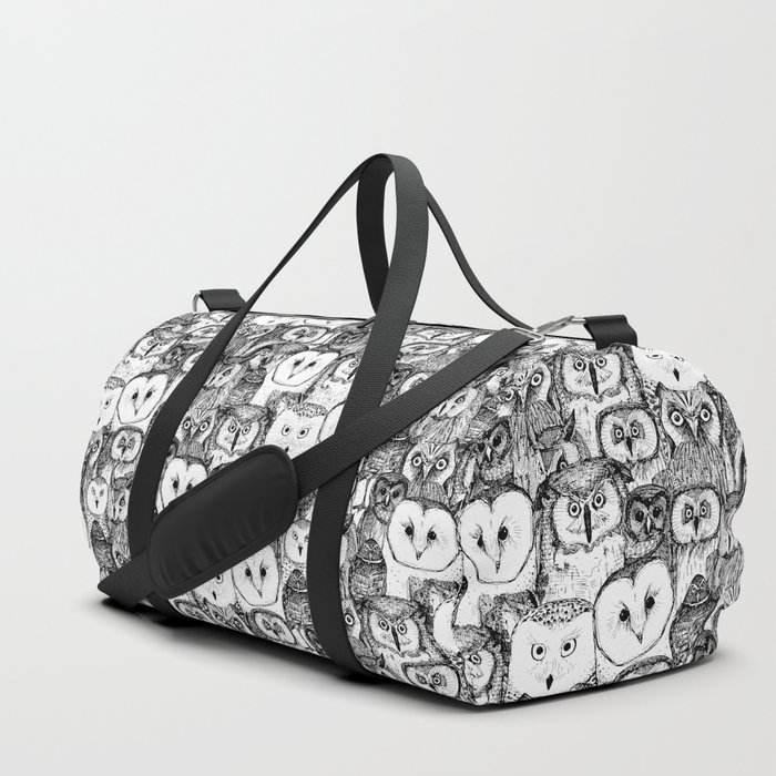 just owls black white Duffle Bag