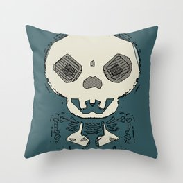 skull and bone graffiti drawing with green background Throw Pillow