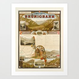 Plakat jura simplon brunig bahn brienz Art Print
